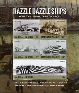 Marshall-Islands-2018-MNH-WWI-WW1-Razzle-Dazzle-Ships-5v-M-S-I-Military-Stamps