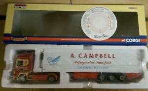 Corgi-CC12920-Scania-Topline-Fridge-Trailer-A-L-Campbell-Ltd-Ed-No-0003-of-3000