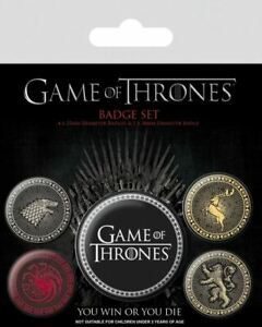 Game-Of-Thrones-The-4-Grand-Maisons-Badge-Paquet-de-5-Securite-Broche-Renforce