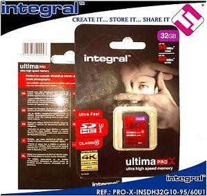 TARJETA 32GB MEMORIA SD INTEGRAL ULTIMATE PRO X LECTURA 95 ESCRITURA 60 MBS 4K