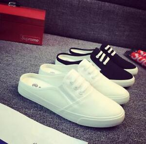 New Womens Slip On Mules Canvas Backless Trainers Casual Pumps Plimsolls Shoes