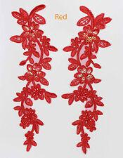 2X Pizzo Venezia Decorato Con Lustrini & perline Applique Finitura A Tema Rosso