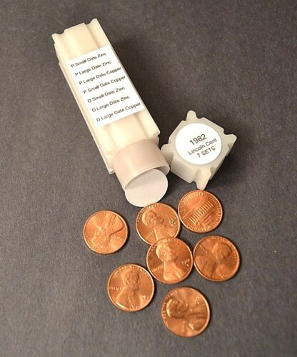 BU COPPER//ZINC LARGE /& SMALL DATES 1982 P/&D LINCOLN CENT 7 COMPLETE SETS