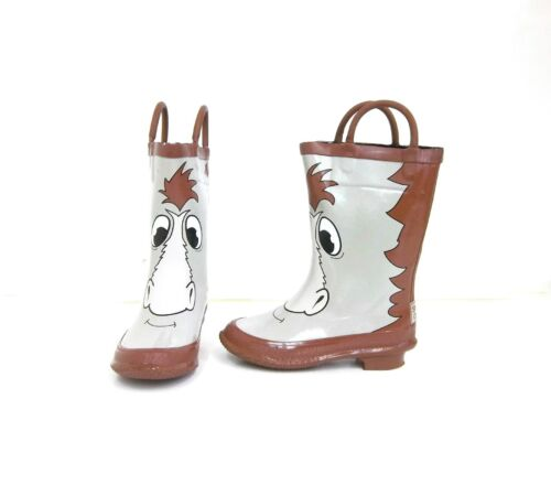 Storm Chief 63019 Waterproof Toddler Horse Rubber Rain Boots Tan//Brown