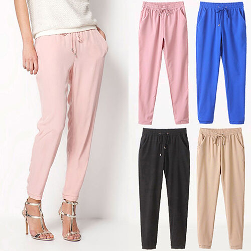 CO/_ Women Solid Color Drawstring Elastic Waist Chiffon Trousers Harem Pants Hot