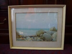 Vintage-watercolour-Water-Colour-painting-Llandudno-Bay-North-Wales-Welsh-Art