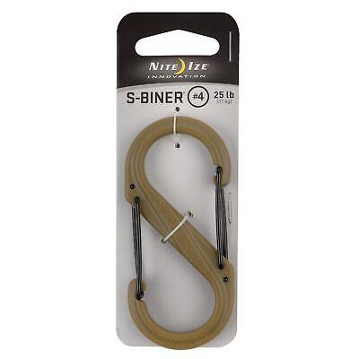 4-Pack Nite Ize S-Biner Plastic #2 Tactical Coyote Brown Dual-Gated Biner