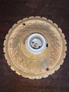 Vintage-Art-Deco-Flush-Mount-Ceiling-Light-Fixture-Single-Bulb-Cast-Iron-Antique