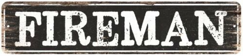 FIREMAN Personalized Chic Metal Sign Home Decor Cities 4x18 104180007080