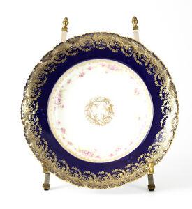 Theodore Haviland Cobalt Blue Gold Encrusted Floral Rimmed Soup Bowl