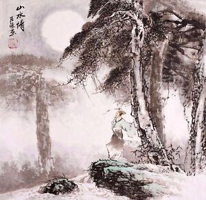 STUNNING-ORIGINAL-ASIAN-ART-CHINESE-FIGURE-WATERCOLOR-PAINTING-Gaoshi-amp-Landscape