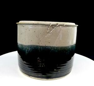 "STUDIO ART POTTERY ARTIST SIGNED BLUE GREY BANDS STONEWARE 5 1/2"" CANISTER"