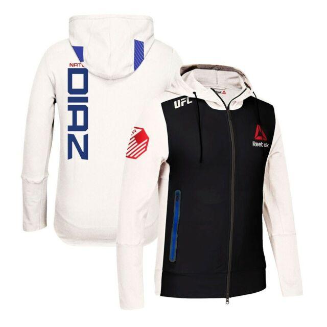 Schlussverkauf feine handwerkskunst Wählen Sie für authentisch Nate Diaz Reebok UFC Fight Kit Full-Zip Official Chalk White Walkout Hoodie