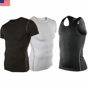 Men-Gym-Running-Sport-Body-Compression-Wear-Base-Layer-Tank-Top-Vest-Under-Shirt