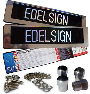 2x-460-mm-EDELSTAHL-Kurzkennzeichen-Halter-B-WARE-V2A-Nummernschildhalter-46-er