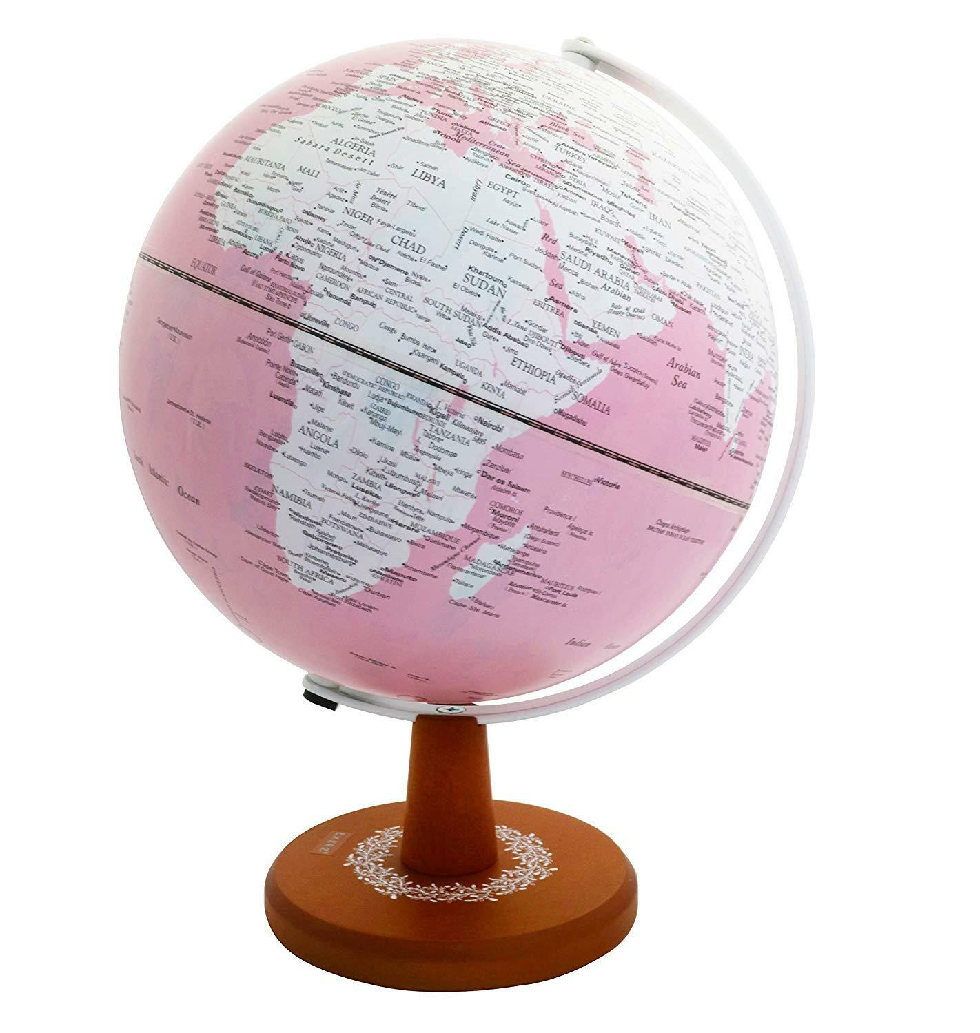Illuminated World Globe LED Light Up Desktop Globe Flower Lamp Pink Dia25CM Gift