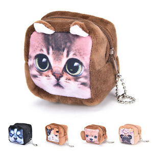 Square-Cute-Animal-Face-Coin-Purse-Wallet-Mini-Zipper-Bag-headset-package-Rr