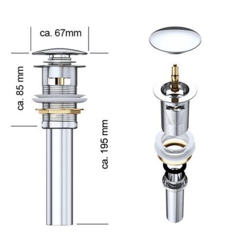 Sogood Design Überlauf-Ablaufgarnitur Push-Open Pop-Up-Ventil Abfluss aus Chrom