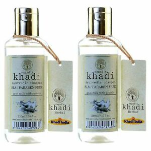 Vagad's Khadi s.L.s and Paraben-Free Goat Milk with Protein Shampoo Pack of 2