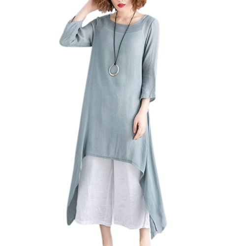 Women Baggy Cotton Linen Long Maxi Dress Tunic Kaftan Loose Casual Top Plus Size