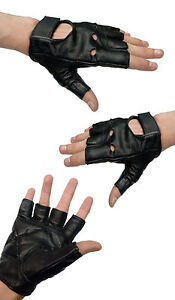 Kids-Leather-Custom-Childrens-Child-Cruiser-Motorcycle-Style-Fingerless-Gloves-T