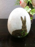 Easter Vintage Style Bunny Rabbit Ceramic Egg Table Top Decoration Decor 6.5
