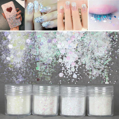 4Pots/Set Chunky White Mermaid Holographic Cosmetic Face EyeShadow Loose Glitter