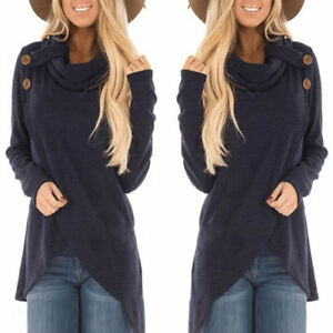 Women-Long-Sleeve-Button-Sweatshirt-Pullover-Sweater-Jumper-Tops-Blouse-Shirt-US
