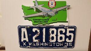 Boeing 247 License Plate Topper Northwest Airways Washington State 1930s