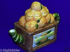 Vtg 1994 Cardinal Inc Sunny Fresh Orange Crate Hand Painted Ceramic Teapot w Lid