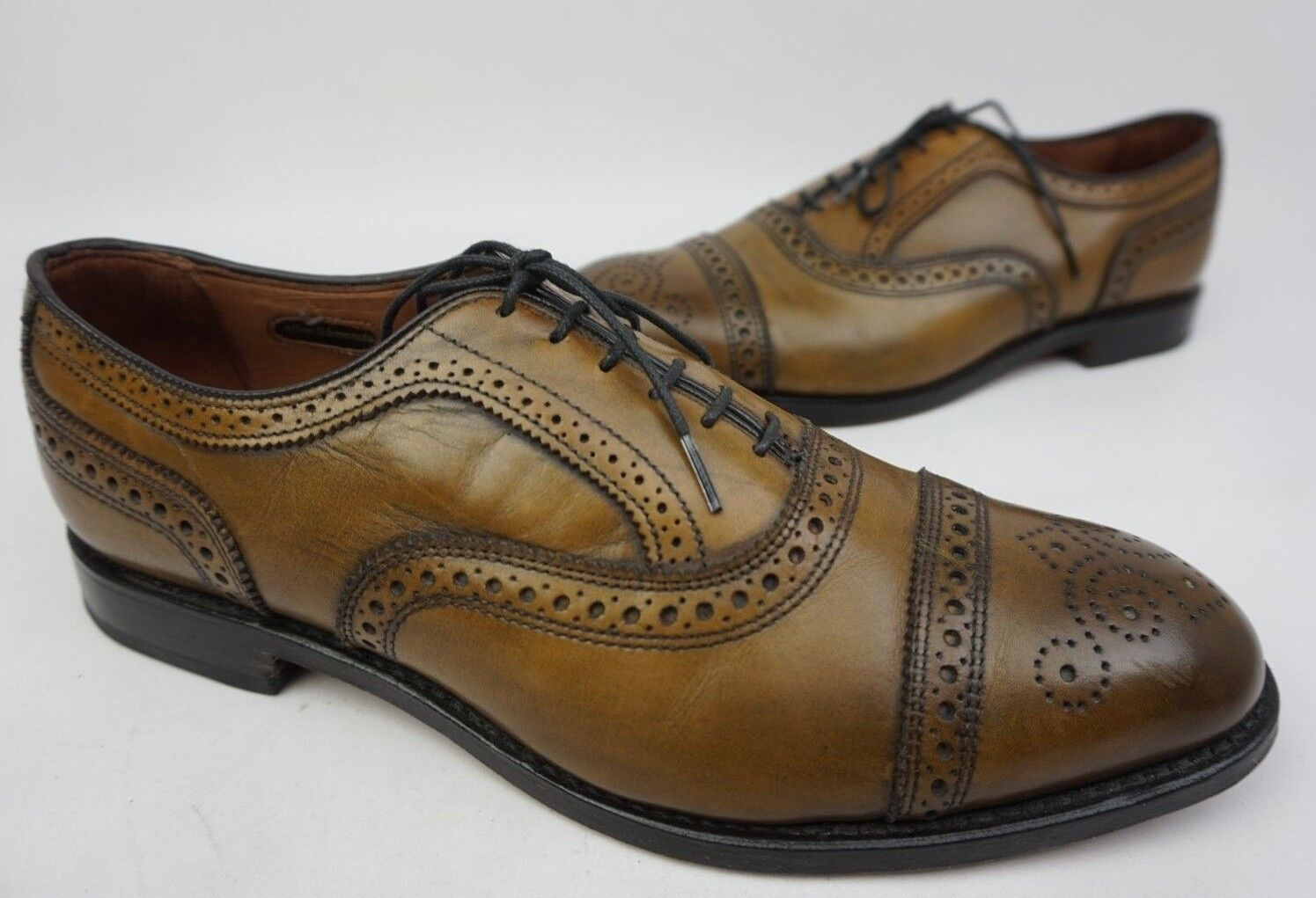 Allen Edmonds Strand Cap Toe Oxford Olive Leather shoes Size 9.5 3E EEE +