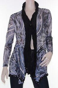 Drape-Cardigan-Sz-10-12-14-16-Womens-Grey-Blue-Black-Crinkle-Cardi-Abstract
