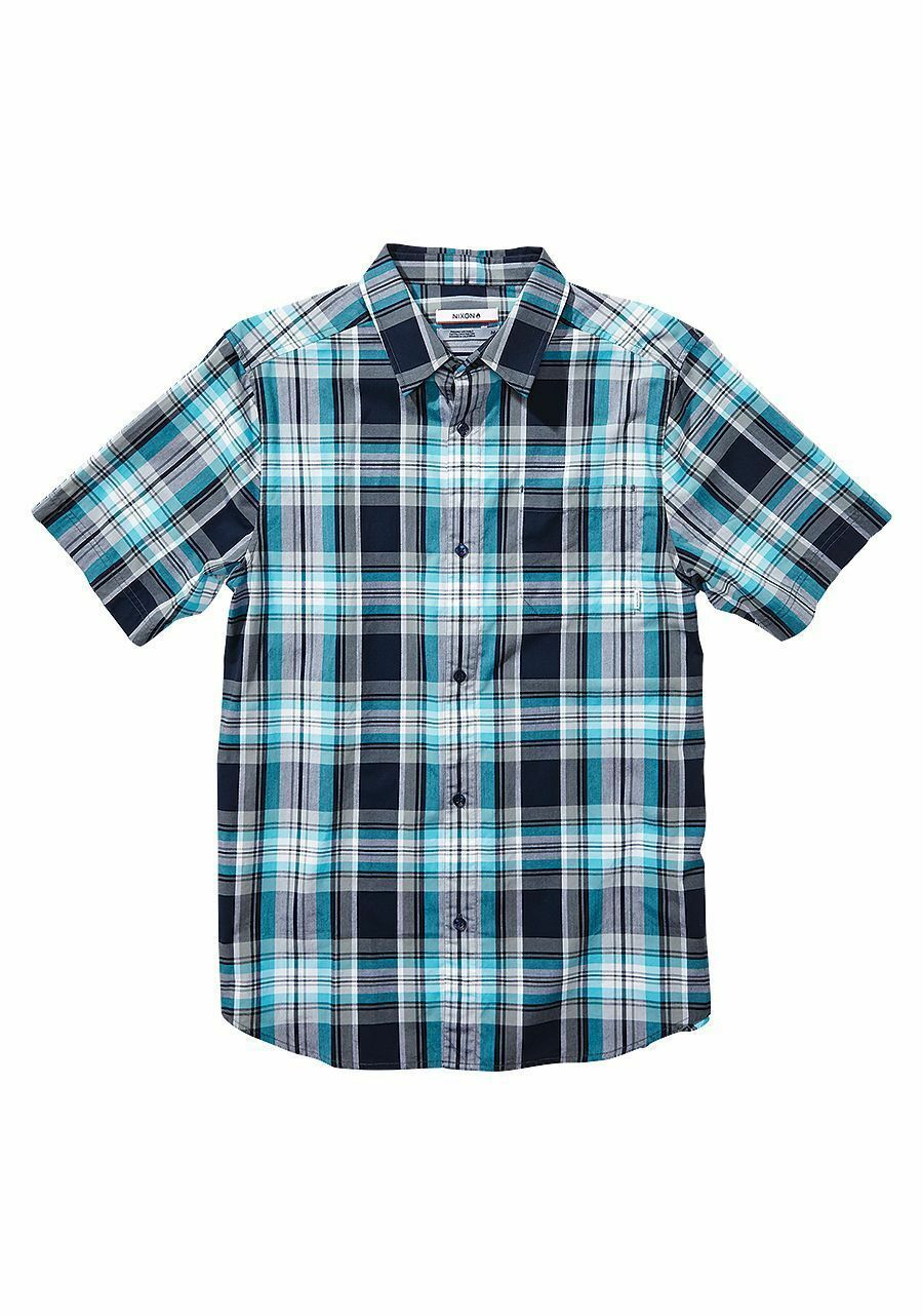 Nixon Men La Paz Ocean bluee Casual Shirts Short Sleeve Medium S2390
