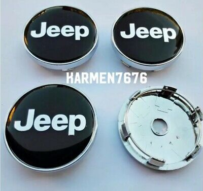 4 Tappi Copri Auto Jeep Coprimozzo 60mm Fregi Borchie Cerchi Auto Gomme