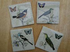SHABBY VINTAGE CHIC BIRD DESIGN COASTERS DRINKS MATS Ceramic Tile Set of 4
