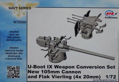 MPM CMK N72020 New 105mm Cannon /& Flak Vierling 4x20mm for U-Boot IX  in 1:72