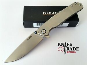 Ruike-P801-SF-Blue-Flipper-Folding-Pocket-Knife-SS-Handle-Sandvik14C28N-Blade