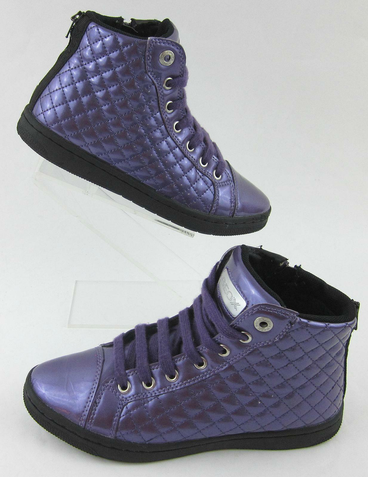 Geox Respira Hi Top Sneakers Purple Patent Leather Sz 36 EU    6 US   4 Juniors