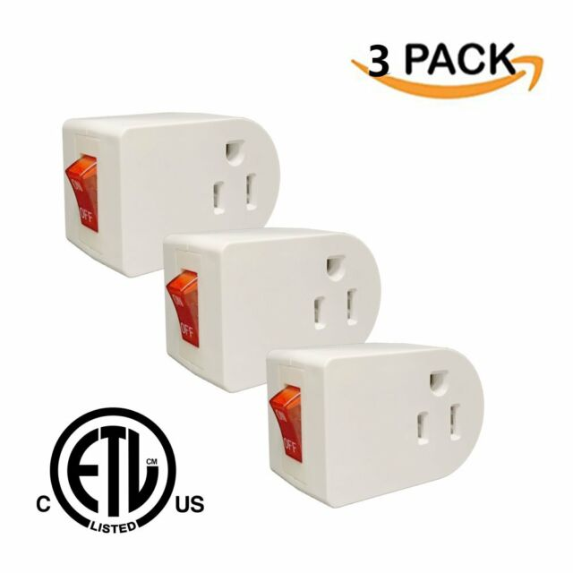 3 Prong Grounded Single Port Power Adapter For Outlet With On//Off Switch To New