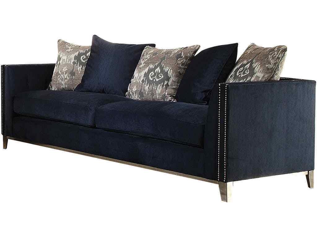 Navy Blue Fabric Sofa Stainless Steel Legs Living Room Home Furniture Sofa Set For Sale Online