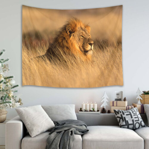 Animal Africa Lion in Grass Wall Hanging Room Tapestry Bedspread Dorm Home Decor