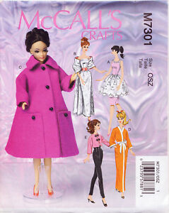 MCCALL-039-S-SEWING-PATTERN-7301-RETRO-STYLE-1960s-BARBIE-11-FASHION-DOLL-CLOTHES