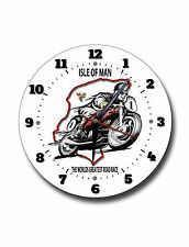 ISLE OF MAN 250MM DIAMETER ENAMEL FINISH METAL CLOCK,I.O.M MOTORCYCLE RACES,