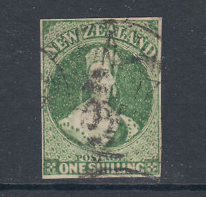 New-Zealand-Sc-30-SG-100-used-1864-1sh-green-QV-imperforate-Cert