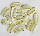 50Pcs 28mm Beige U Shape Snap Metal Clips For Hair Extensions Weft Clip-on Wig