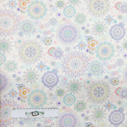 Quilting Patchwork Sewing Fabric PASTEL MANDALAS 50x55cm FQ New Material