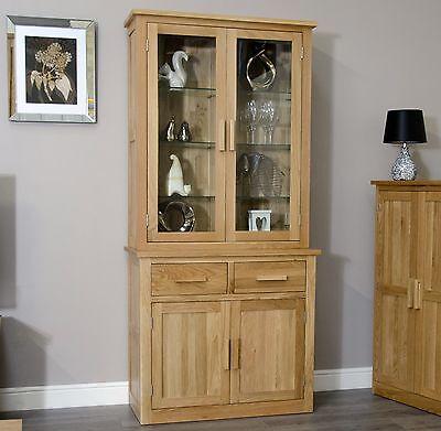 Arden solid oak dining room furniture small dresser glazed display cabinet