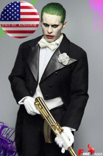 1//6 Joker Jared Leto Head Sculpt Tuxedo Suit Costume Set Gold AK47 Suicide Squad