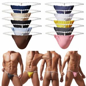 Sexy-Men-Ice-Silk-Briefs-G-String-Jockstrap-Thong-Underwear-Bikini-Pack-of-1-4-5