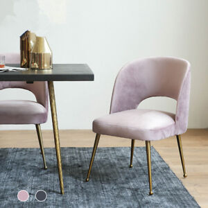 Awe Inspiring Details About Modern Pink Grey Velvet Cushion Gold Legs Backrest Dining Chairs Accent Chair Dailytribune Chair Design For Home Dailytribuneorg